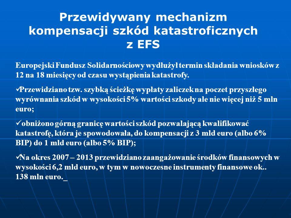 Europejski Fundusz Solidarnościowy wydłużył termin składania wniosków z 12 na 18 miesięcy od czasu wystąpienia katastrofy. Przewidziano tzw. szybką śc