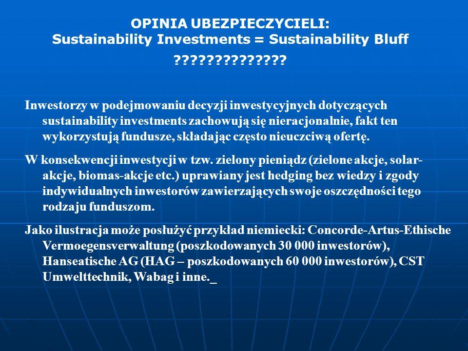Inwestorzy w podejmowaniu decyzji inwestycyjnych dotyczących sustainability investments zachowują się nieracjonalnie, fakt ten wykorzystują fundusze,
