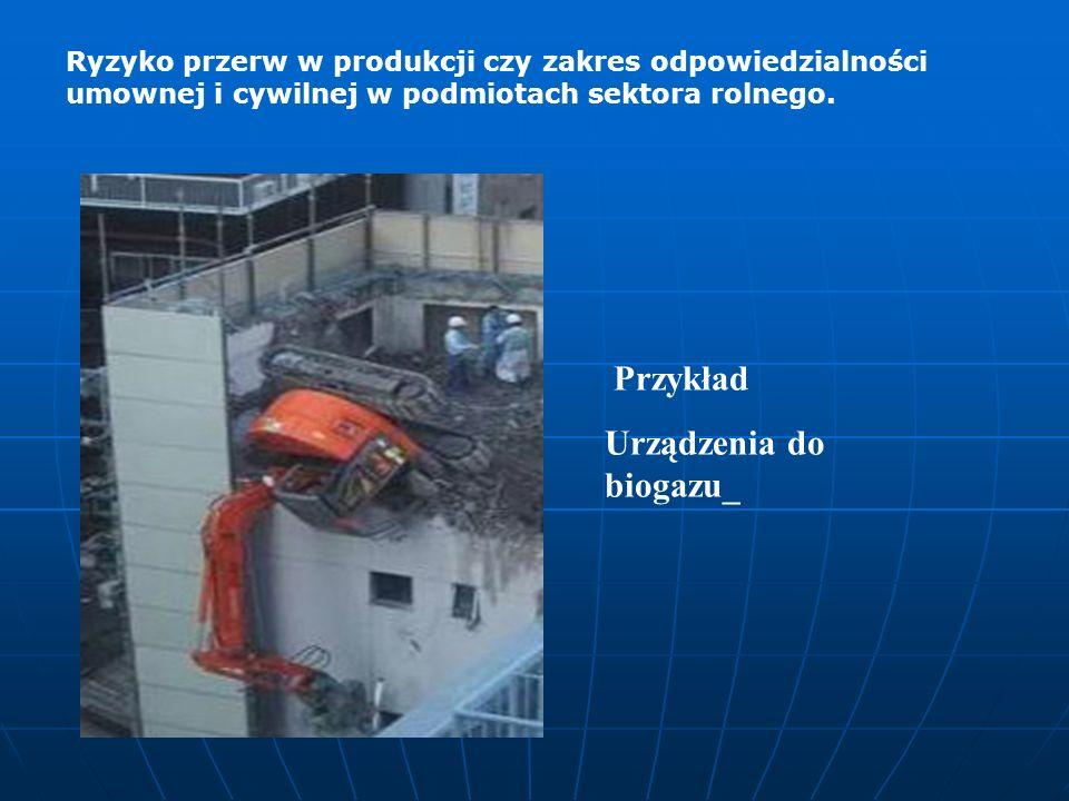 Przykład Urządzenia do biogazu_ Ryzyko przerw w produkcji czy zakres odpowiedzialności umownej i cywilnej w podmiotach sektora rolnego.