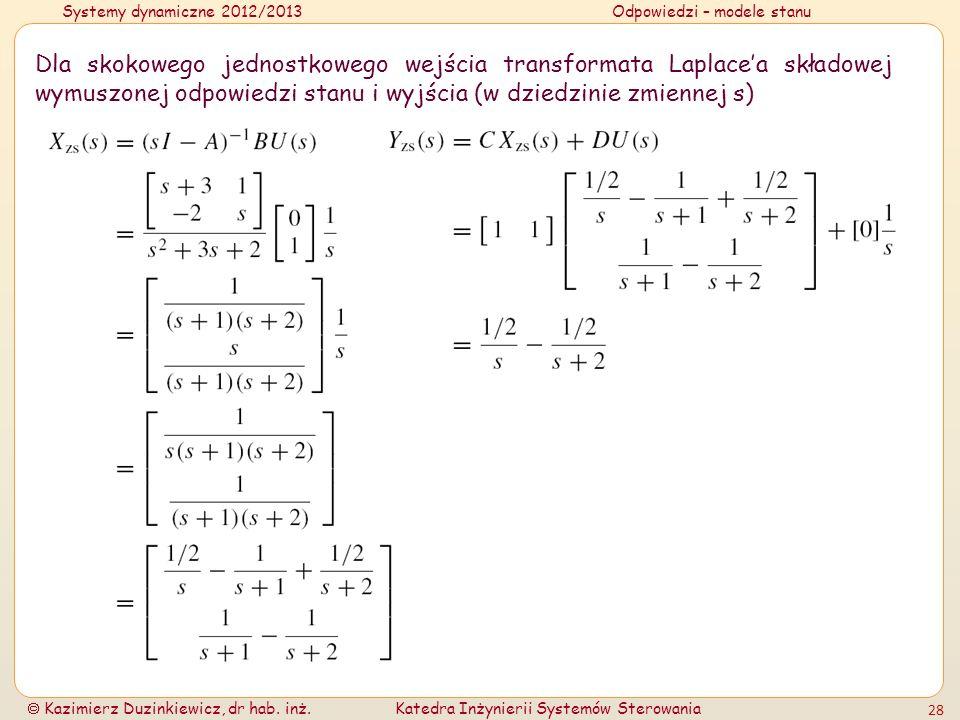 Systemy dynamiczne 2012/2013Odpowiedzi – modele stanu Kazimierz Duzinkiewicz, dr hab. inż.Katedra Inżynierii Systemów Sterowania 28 Dla skokowego jedn