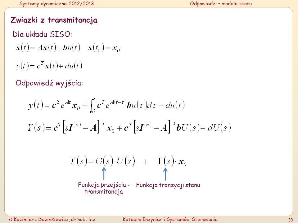 Systemy dynamiczne 2012/2013Odpowiedzi – modele stanu Kazimierz Duzinkiewicz, dr hab. inż.Katedra Inżynierii Systemów Sterowania 30 Związki z transmit