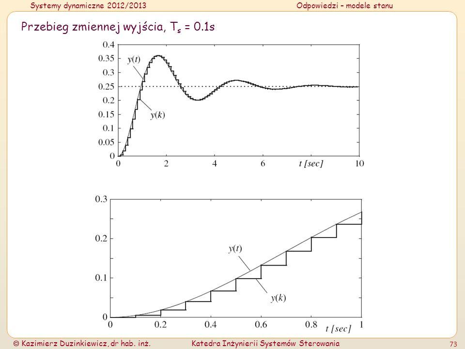 Systemy dynamiczne 2012/2013Odpowiedzi – modele stanu Kazimierz Duzinkiewicz, dr hab. inż.Katedra Inżynierii Systemów Sterowania 73 Przebieg zmiennej