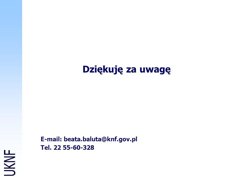 E-mail: beata.baluta@knf.gov.pl Tel. 22 55-60-328 Dziękuję za uwagę