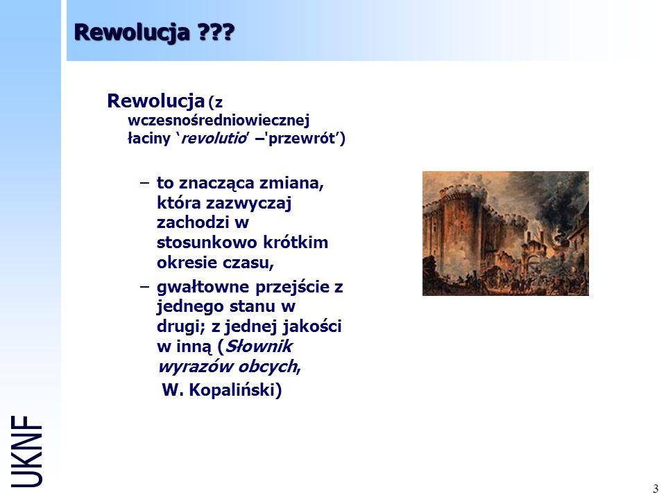 3 Rewolucja (z wczesnośredniowiecznej łaciny revolutio – przewrót) –to znacząca zmiana, która zazwyczaj zachodzi w stosunkowo krótkim okresie czasu, –gwałtowne przejście z jednego stanu w drugi; z jednej jakości w inną (Słownik wyrazów obcych, W.