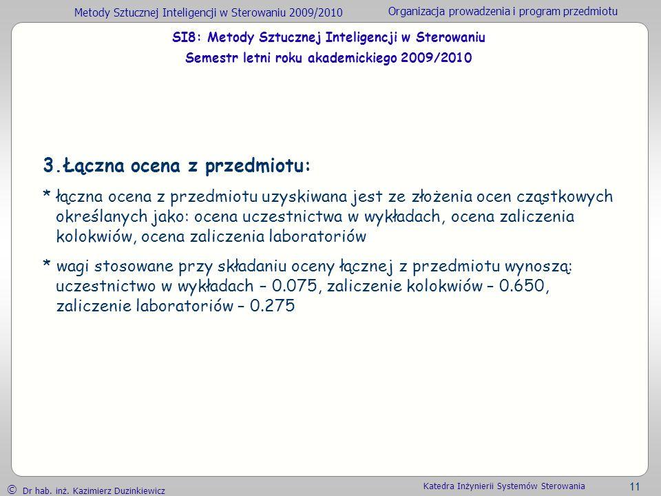 Metody Sztucznej Inteligencji w Sterowaniu 2009/2010 Organizacja prowadzenia i program przedmiotu Dr hab. inż. Kazimierz Duzinkiewicz 11 Katedra Inżyn