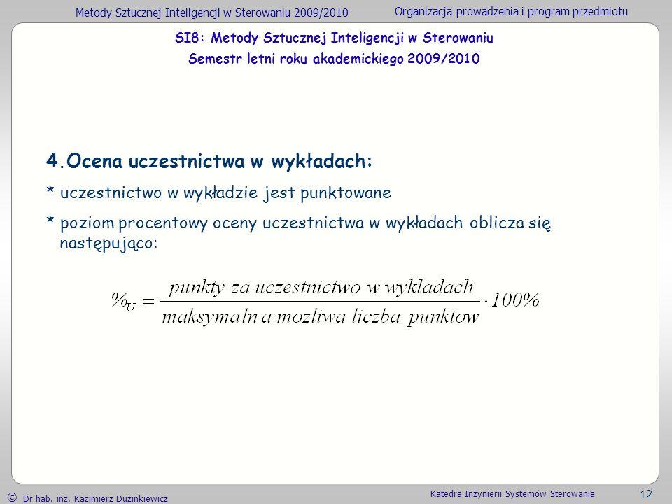 Metody Sztucznej Inteligencji w Sterowaniu 2009/2010 Organizacja prowadzenia i program przedmiotu Dr hab. inż. Kazimierz Duzinkiewicz 12 Katedra Inżyn