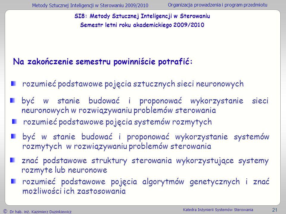 Metody Sztucznej Inteligencji w Sterowaniu 2009/2010 Organizacja prowadzenia i program przedmiotu Dr hab. inż. Kazimierz Duzinkiewicz 21 Katedra Inżyn