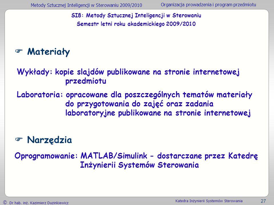 Metody Sztucznej Inteligencji w Sterowaniu 2009/2010 Organizacja prowadzenia i program przedmiotu Dr hab. inż. Kazimierz Duzinkiewicz 27 Katedra Inżyn