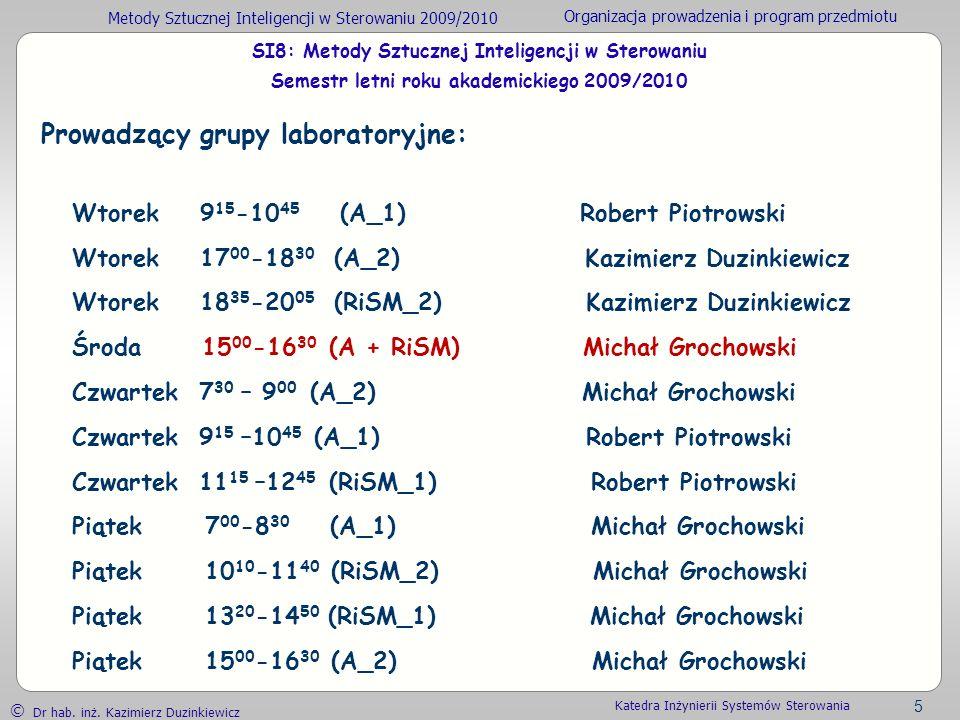Metody Sztucznej Inteligencji w Sterowaniu 2009/2010 Organizacja prowadzenia i program przedmiotu Dr hab. inż. Kazimierz Duzinkiewicz 5 Katedra Inżyni