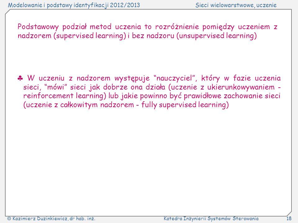 Modelowanie i podstawy identyfikacji 2012/2013Sieci wielowarstwowe, uczenie Kazimierz Duzinkiewicz, dr hab. inż.Katedra Inżynierii Systemów Sterowania
