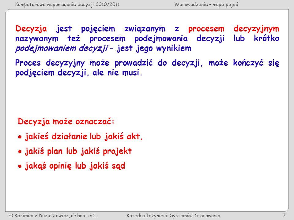 Komputerowe wspomaganie decyzji 2010/2011Wprowadzenie – mapa pojęć Kazimierz Duzinkiewicz, dr hab.