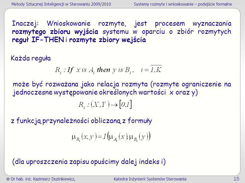 Metody Sztucznej Inteligencji w Sterowaniu 2009/2010Systemy rozmyte i wnioskowanie – podejście formalne Dr hab. inż. Kazimierz Duzinkiewicz, Katedra I