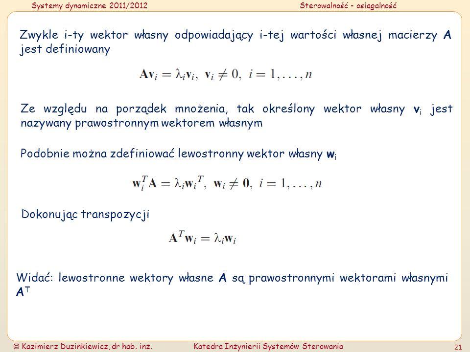 Systemy dynamiczne 2011/2012Sterowalność - osiągalność Kazimierz Duzinkiewicz, dr hab. inż.Katedra Inżynierii Systemów Sterowania 21 Zwykle i-ty wekto