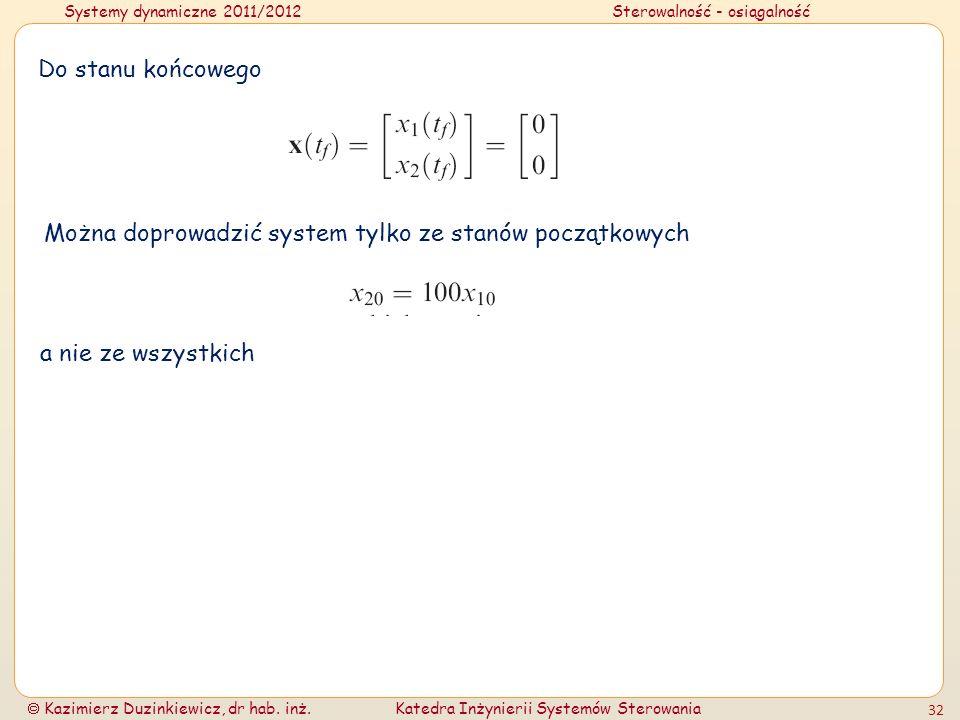 Systemy dynamiczne 2011/2012Sterowalność - osiągalność Kazimierz Duzinkiewicz, dr hab. inż.Katedra Inżynierii Systemów Sterowania 32 Do stanu końcoweg