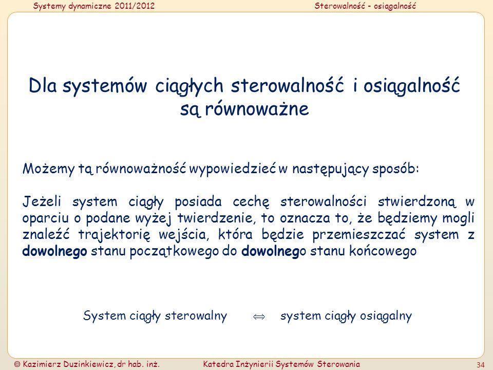 Systemy dynamiczne 2011/2012Sterowalność - osiągalność Kazimierz Duzinkiewicz, dr hab. inż.Katedra Inżynierii Systemów Sterowania 34 Dla systemów ciąg