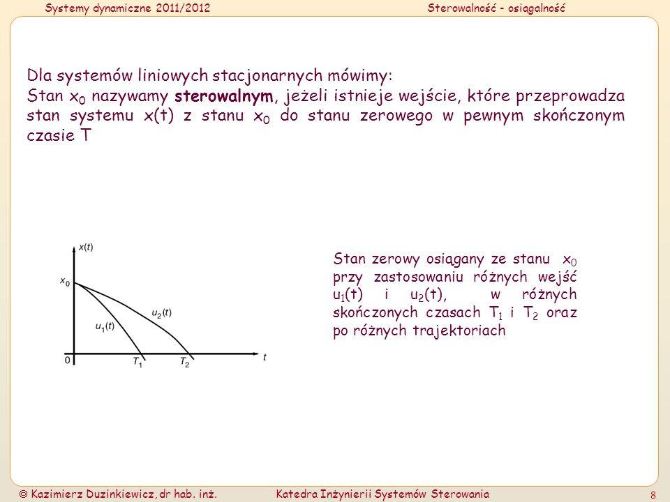 Systemy dynamiczne 2011/2012Sterowalność - osiągalność Kazimierz Duzinkiewicz, dr hab. inż.Katedra Inżynierii Systemów Sterowania 8 Dla systemów linio