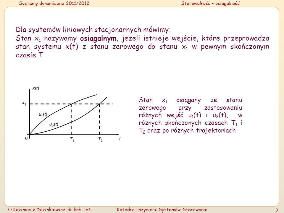 Systemy dynamiczne 2011/2012Sterowalność - osiągalność Kazimierz Duzinkiewicz, dr hab. inż.Katedra Inżynierii Systemów Sterowania 9 Dla systemów linio