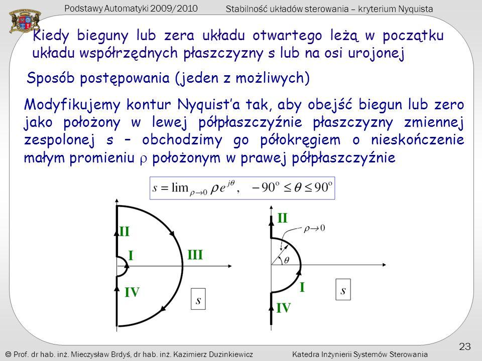 Podstawy Automatyki 2009/2010 Stabilność układów sterowania – kryterium Nyquista Prof. dr hab. inż. Mieczysław Brdyś, dr hab. inż. Kazimierz Duzinkiew