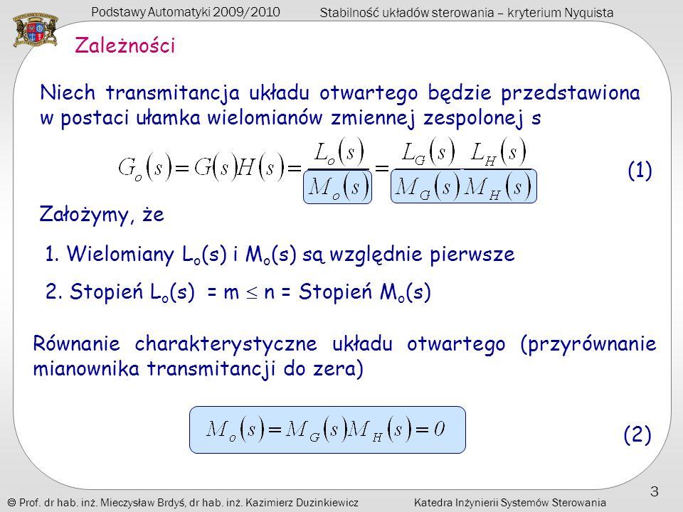 Podstawy Automatyki 2009/2010 Stabilność układów sterowania – kryterium Nyquista Prof.