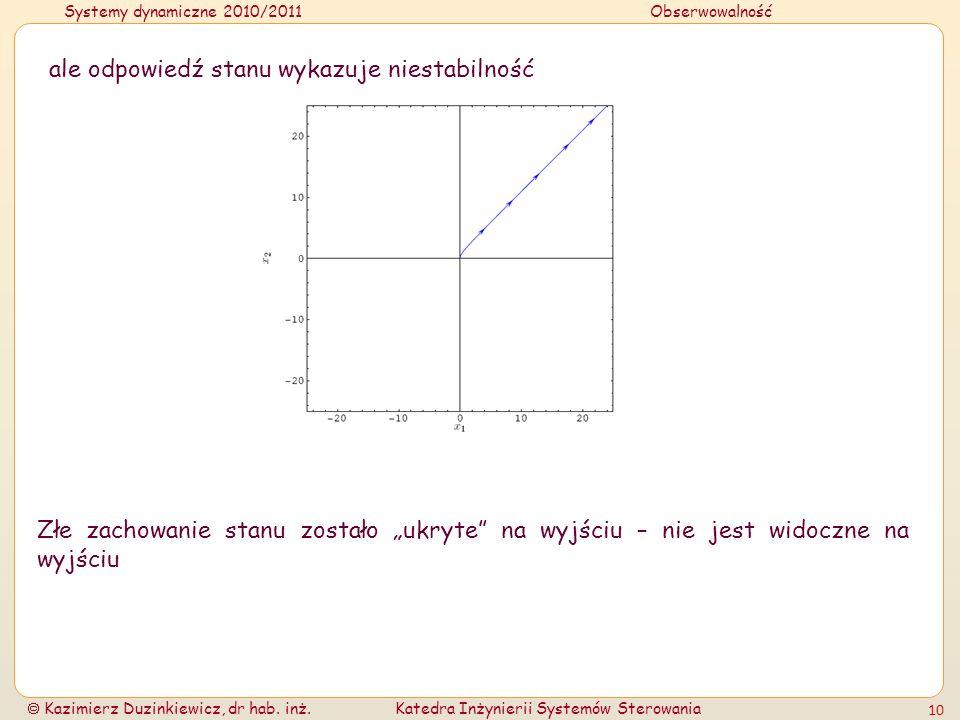 Systemy dynamiczne 2010/2011Obserwowalność Kazimierz Duzinkiewicz, dr hab. inż.Katedra Inżynierii Systemów Sterowania 10 ale odpowiedź stanu wykazuje