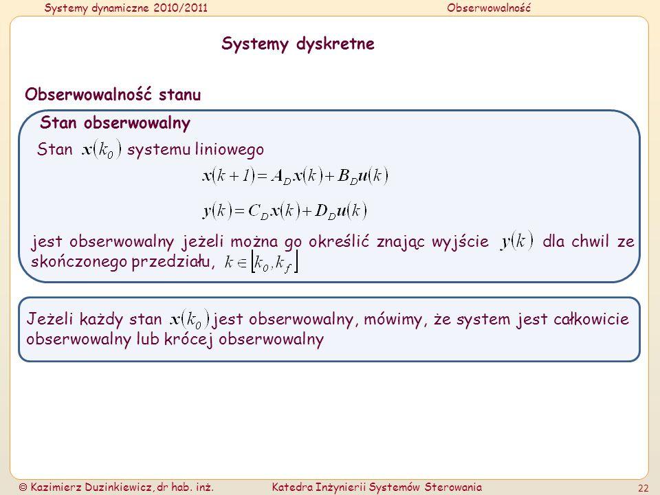 Systemy dynamiczne 2010/2011Obserwowalność Kazimierz Duzinkiewicz, dr hab. inż.Katedra Inżynierii Systemów Sterowania 22 Systemy dyskretne Stan obserw