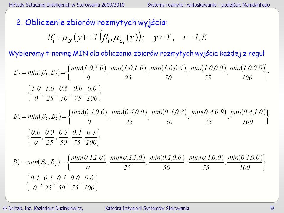 Metody Sztucznej Inteligencji w Sterowaniu 2009/2010Systemy rozmyte i wnioskowanie – podejście Mamdaniego Dr hab.