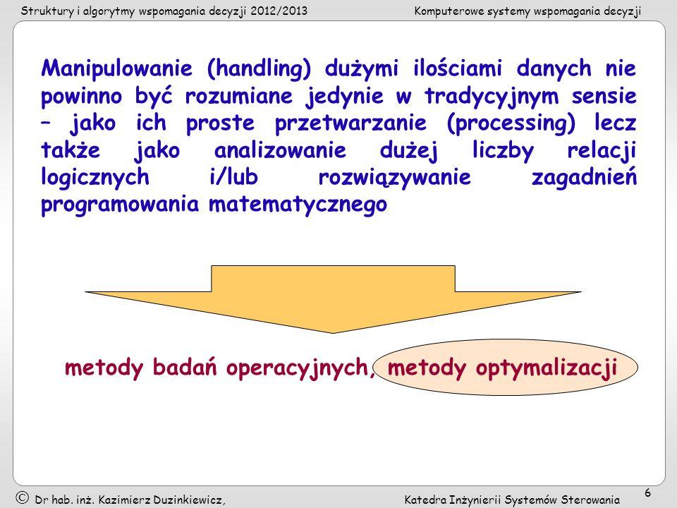Struktury i algorytmy wspomagania decyzji 2012/2013Komputerowe systemy wspomagania decyzji Dr hab. inż. Kazimierz Duzinkiewicz, Katedra Inżynierii Sys