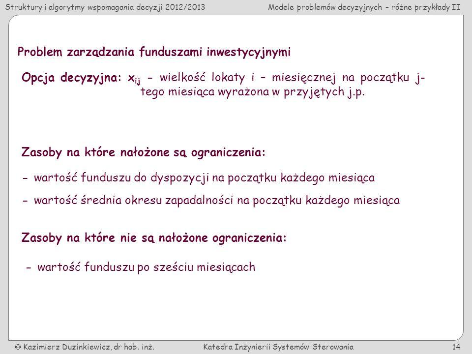 Struktury i algorytmy wspomagania decyzji 2012/2013Modele problemów decyzyjnych – różne przykłady II Kazimierz Duzinkiewicz, dr hab.