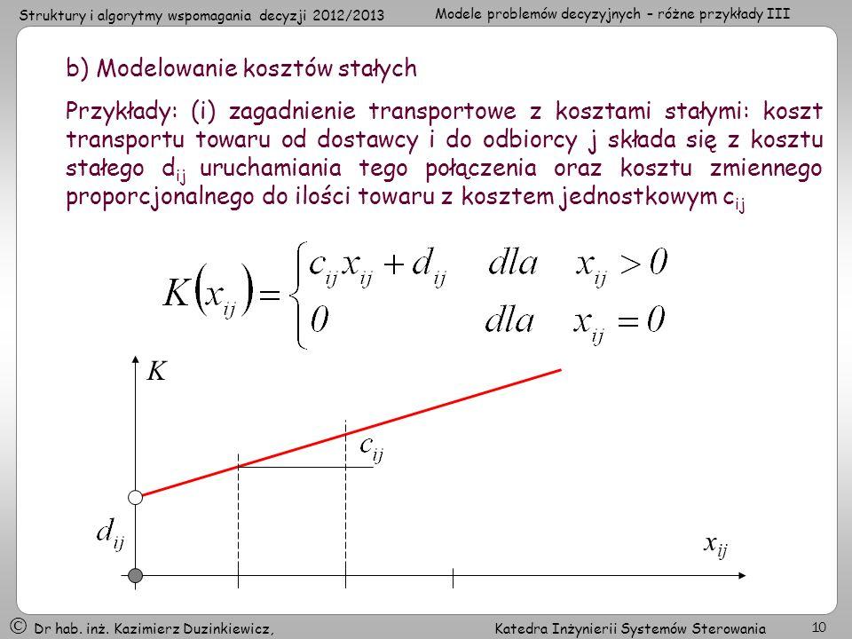 Struktury i algorytmy wspomagania decyzji 2012/2013 Modele problemów decyzyjnych – różne przykłady III Dr hab. inż. Kazimierz Duzinkiewicz, Katedra In