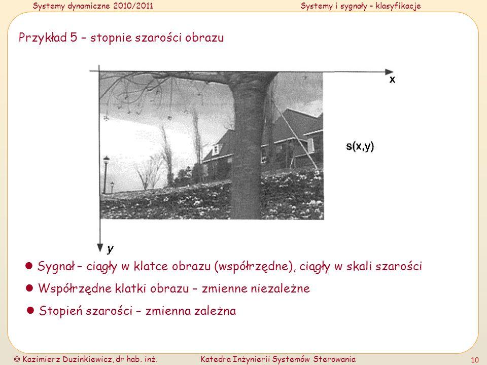 Systemy dynamiczne 2010/2011Systemy i sygnały - klasyfikacje Kazimierz Duzinkiewicz, dr hab. inż.Katedra Inżynierii Systemów Sterowania 10 Przykład 5