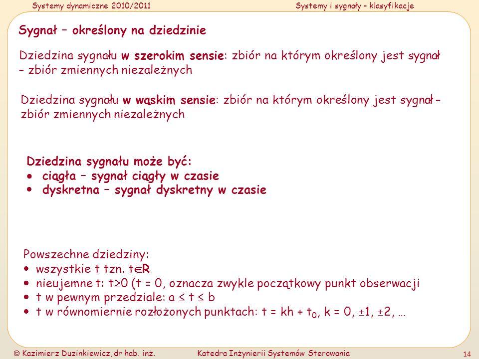 Systemy dynamiczne 2010/2011Systemy i sygnały - klasyfikacje Kazimierz Duzinkiewicz, dr hab. inż.Katedra Inżynierii Systemów Sterowania 14 Sygnał – ok