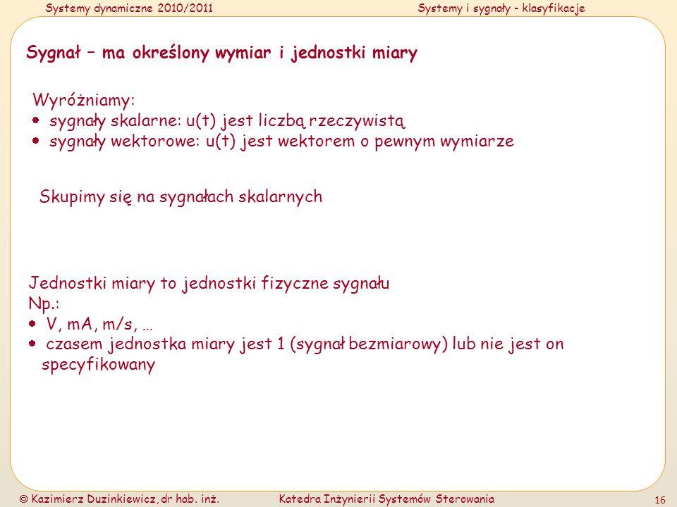 Systemy dynamiczne 2010/2011Systemy i sygnały - klasyfikacje Kazimierz Duzinkiewicz, dr hab. inż.Katedra Inżynierii Systemów Sterowania 16 Sygnał – ma
