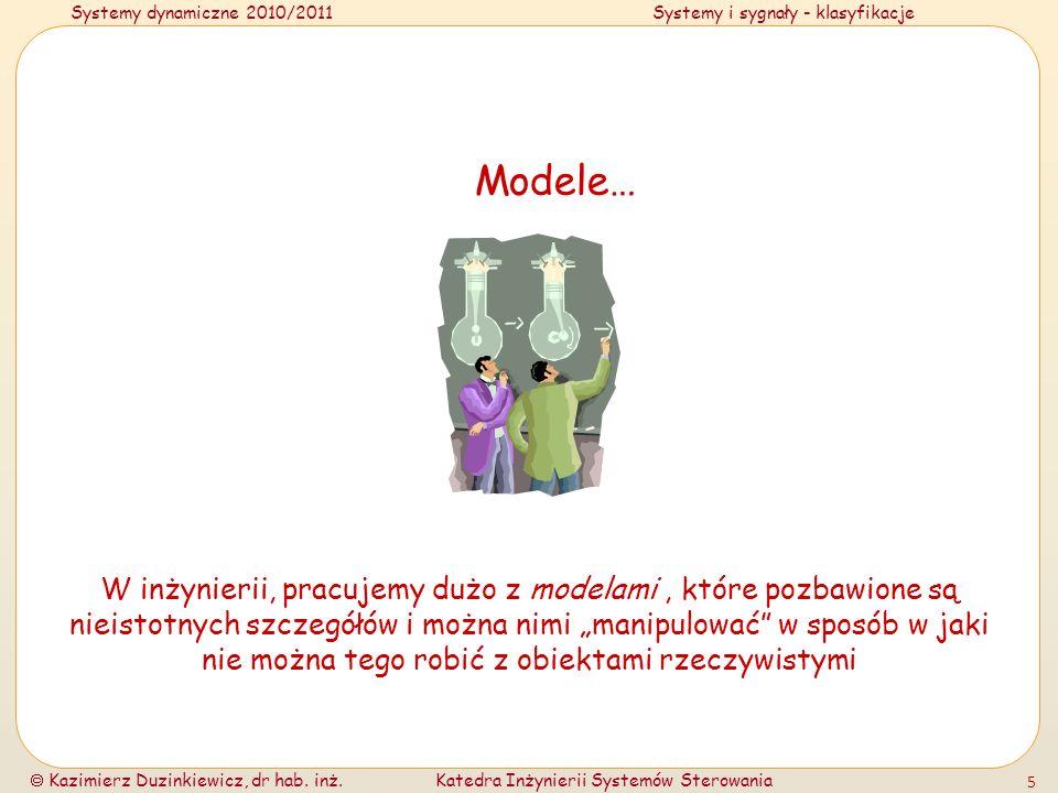 Systemy dynamiczne 2010/2011Systemy i sygnały - klasyfikacje Kazimierz Duzinkiewicz, dr hab. inż.Katedra Inżynierii Systemów Sterowania 5 Modele… W in