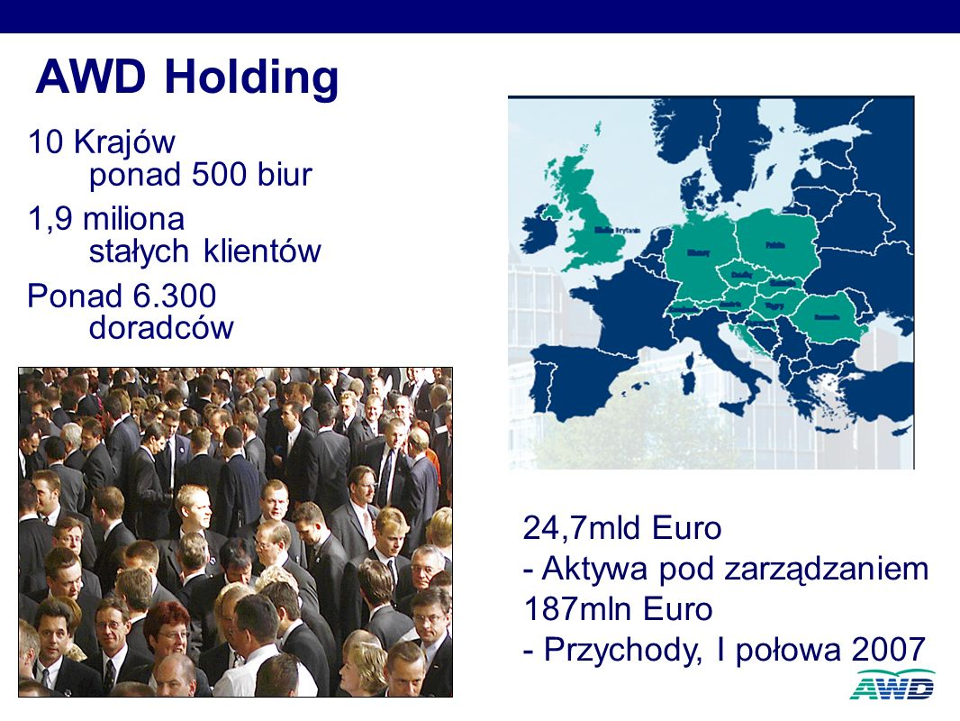 4 AWD Holding 10 Krajów ponad 500 biur 1,9 miliona stałych klientów Ponad 6.300 doradców 10 Krajów ponad 500 biur 1,9 miliona stałych klientów Ponad 6.300 doradców 24,7mld Euro - Aktywa pod zarządzaniem 187mln Euro - Przychody, I połowa 2007