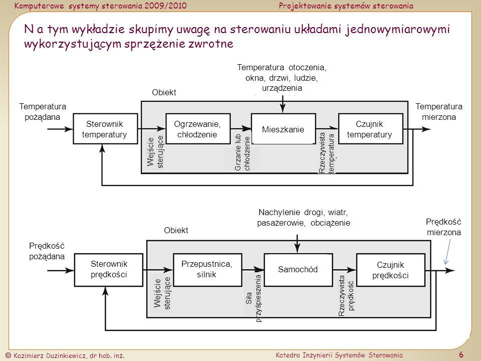 Komputerowe systemy sterowania 2009/2010Projektowanie systemów sterowania Kazimierz Duzinkiewicz, dr hab.