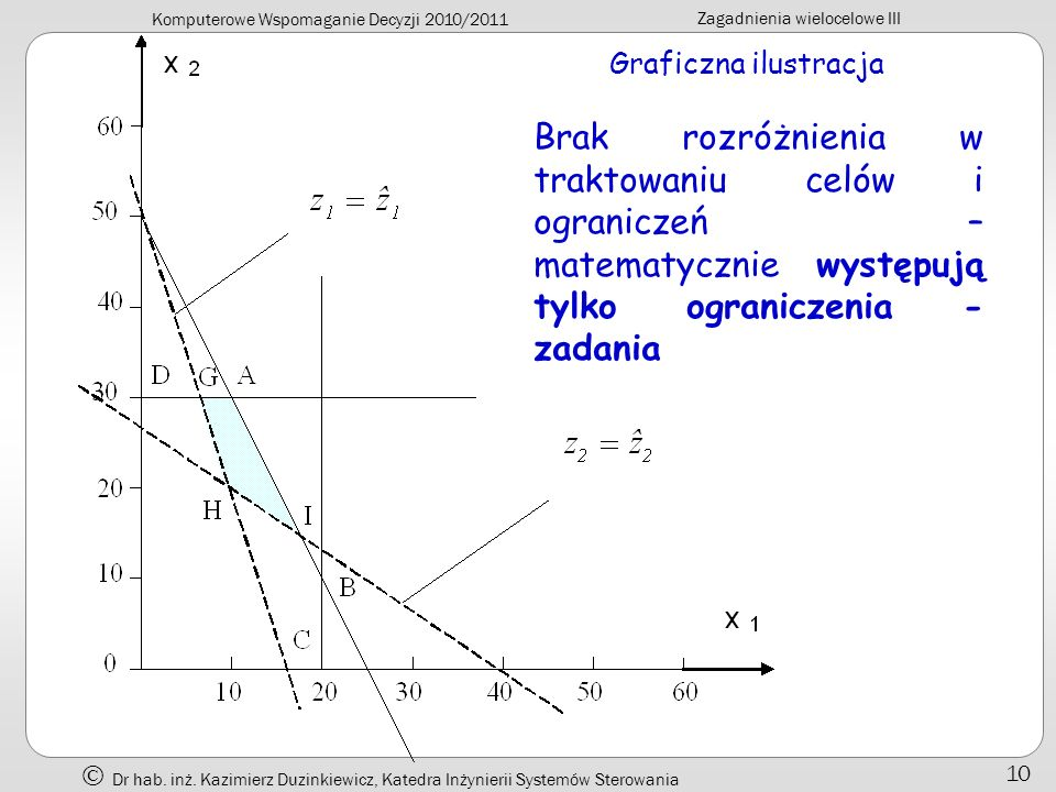 Komputerowe Wspomaganie Decyzji 2010/2011 Zagadnienia wielocelowe III Dr hab. inż. Kazimierz Duzinkiewicz, Katedra Inżynierii Systemów Sterowania 10 G