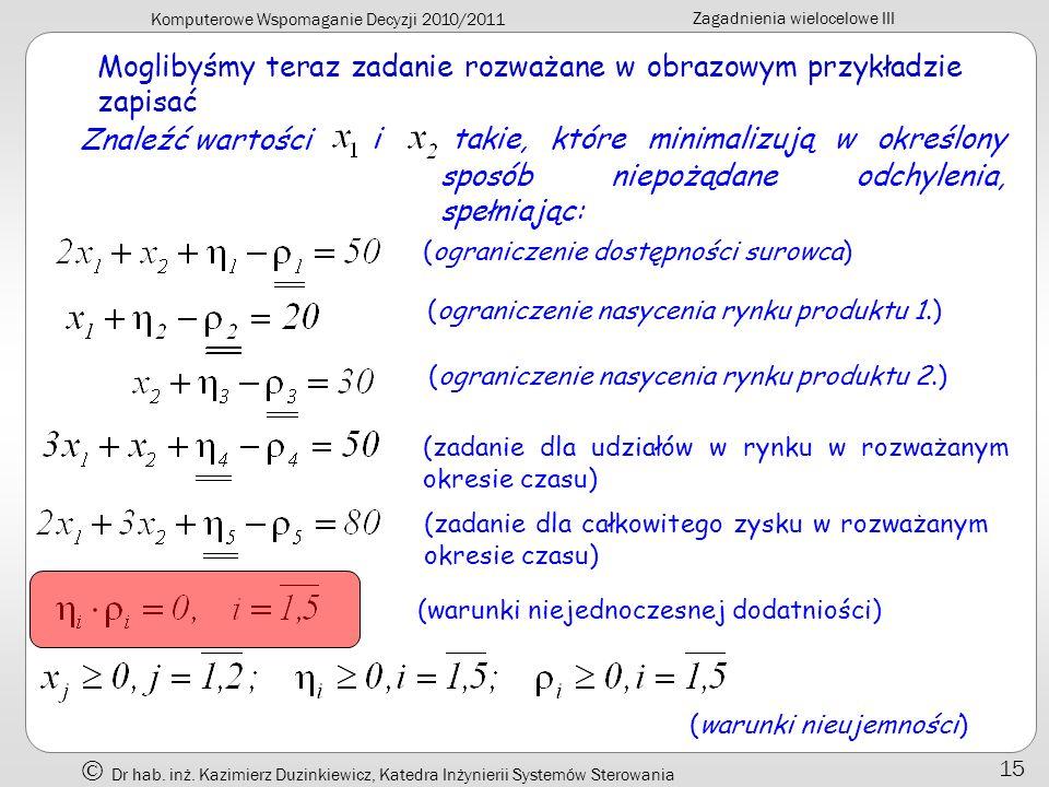 Komputerowe Wspomaganie Decyzji 2010/2011 Zagadnienia wielocelowe III Dr hab. inż. Kazimierz Duzinkiewicz, Katedra Inżynierii Systemów Sterowania 15 M