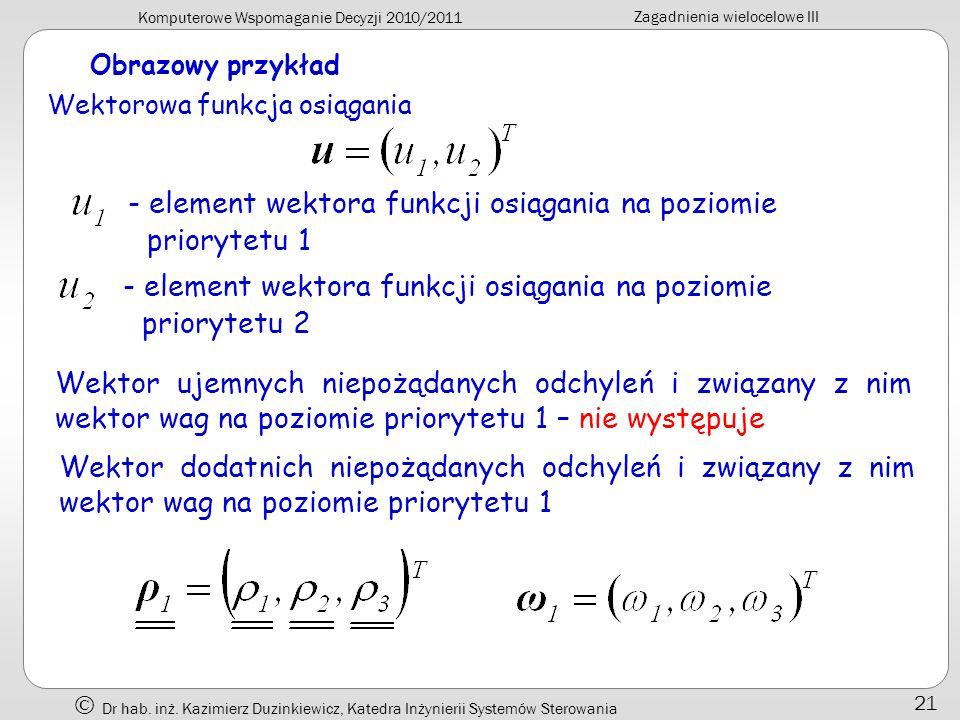 Komputerowe Wspomaganie Decyzji 2010/2011 Zagadnienia wielocelowe III Dr hab. inż. Kazimierz Duzinkiewicz, Katedra Inżynierii Systemów Sterowania 21 O