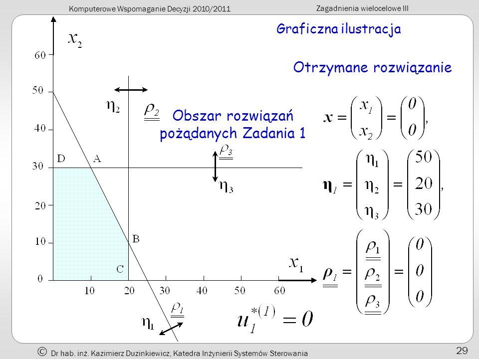 Komputerowe Wspomaganie Decyzji 2010/2011 Zagadnienia wielocelowe III Dr hab. inż. Kazimierz Duzinkiewicz, Katedra Inżynierii Systemów Sterowania 29 G