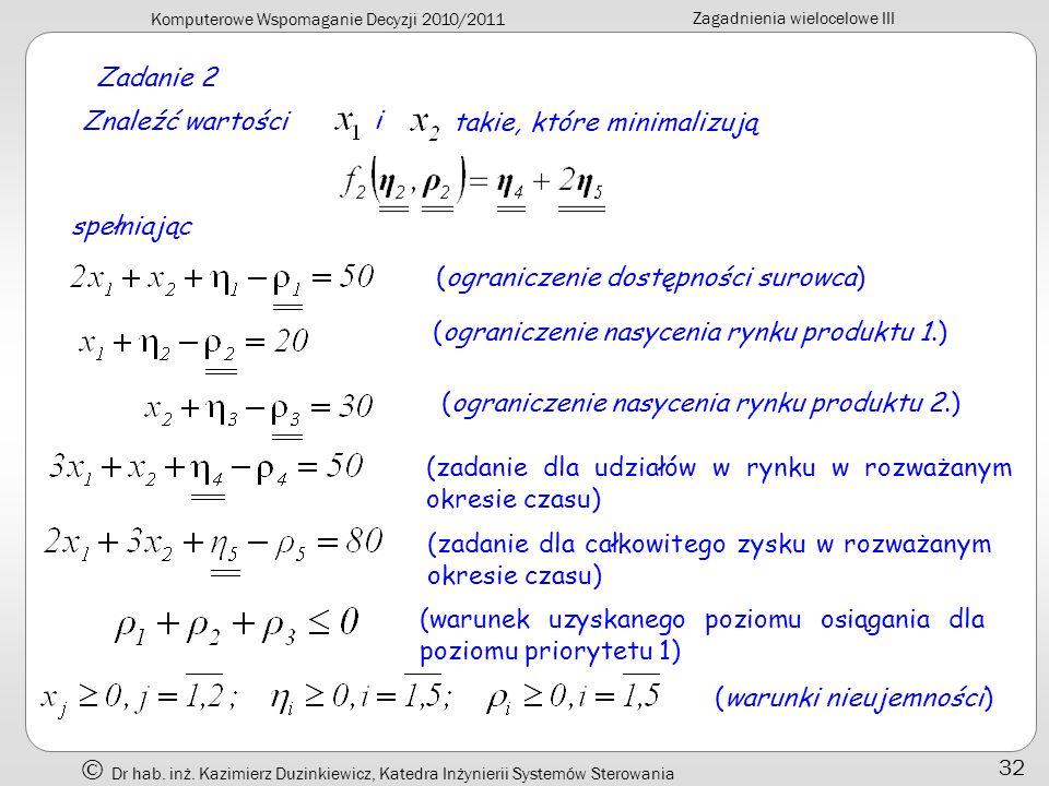 Komputerowe Wspomaganie Decyzji 2010/2011 Zagadnienia wielocelowe III Dr hab. inż. Kazimierz Duzinkiewicz, Katedra Inżynierii Systemów Sterowania 32 Z