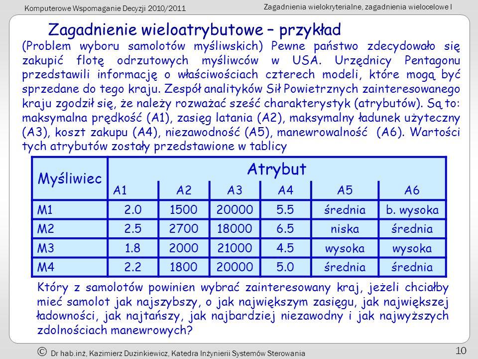 Komputerowe Wspomaganie Decyzji 2010/2011 Zagadnienia wielokryterialne, zagadnienia wielocelowe I Dr hab.inż, Kazimierz Duzinkiewicz, Katedra Inżynier
