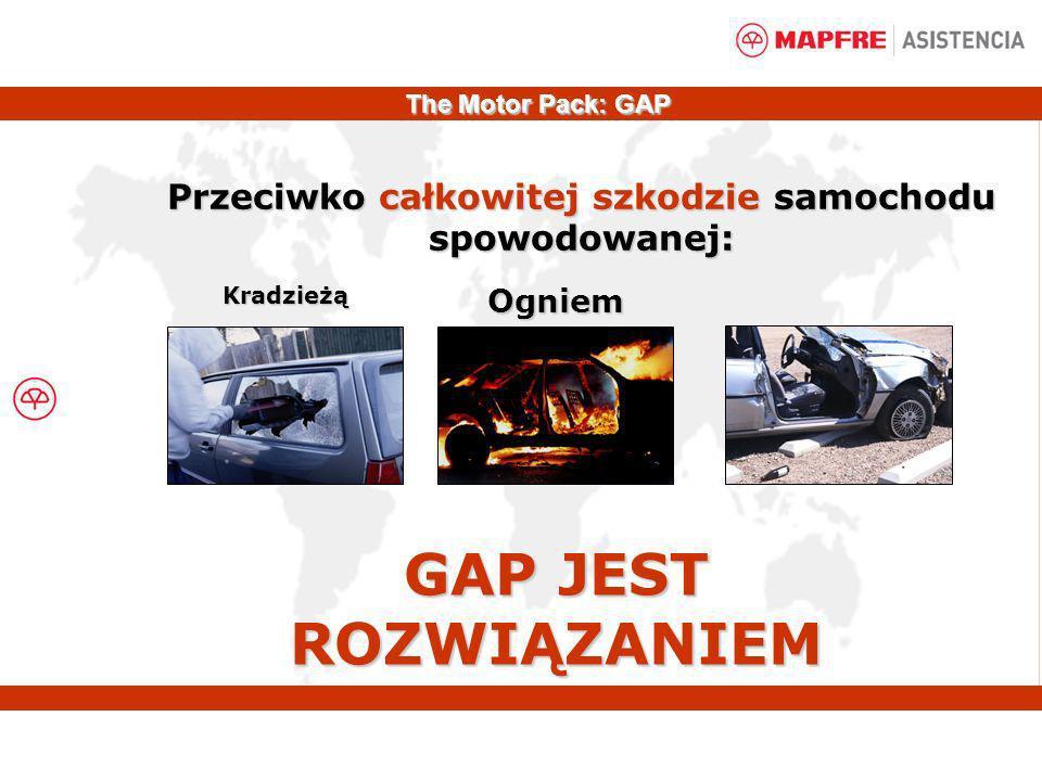 Przeciwko całkowitej szkodzie samochodu spowodowanej: KradzieżąOgniem GAP JEST ROZWIĄZANIEM The Motor Pack: GAP