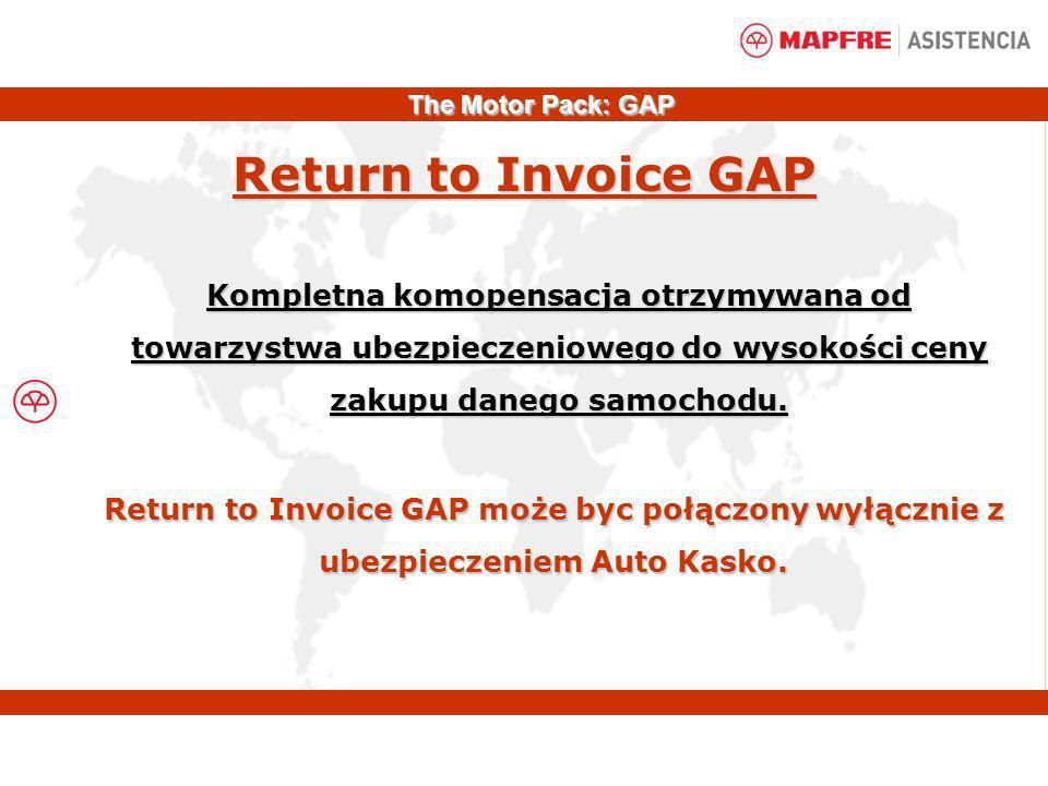 Kompletna komopensacja otrzymywana od towarzystwa ubezpieczeniowego do wysokości ceny zakupu danego samochodu. Return to Invoice GAP Return to Invoice