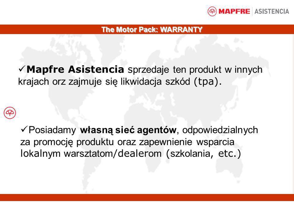 Mapfre Asistencia s przedaje ten produkt w innych krajach orz zajmuje się likwidacja szkód (tpa). Posiadamy własną sieć agentów, odpowiedzialnych za p