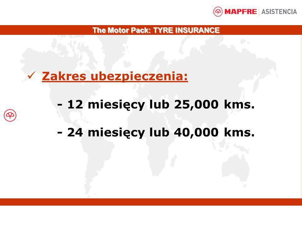 Zakres ubezpieczenia: - 12 miesięcy lub 25,000 kms. - 24 miesięcy lub 40,000 kms. The Motor Pack: TYRE INSURANCE