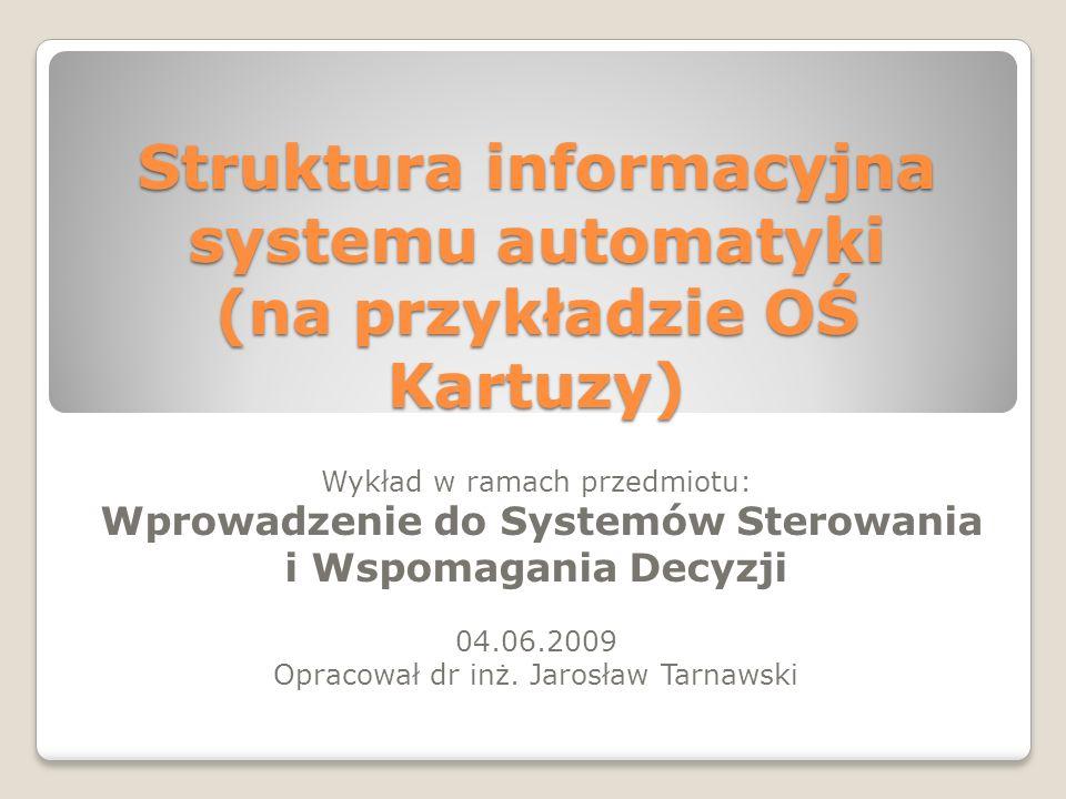 Struktura informacyjna systemu automatyki (na przykładzie OŚ Kartuzy) Wykład w ramach przedmiotu: Wprowadzenie do Systemów Sterowania i Wspomagania De