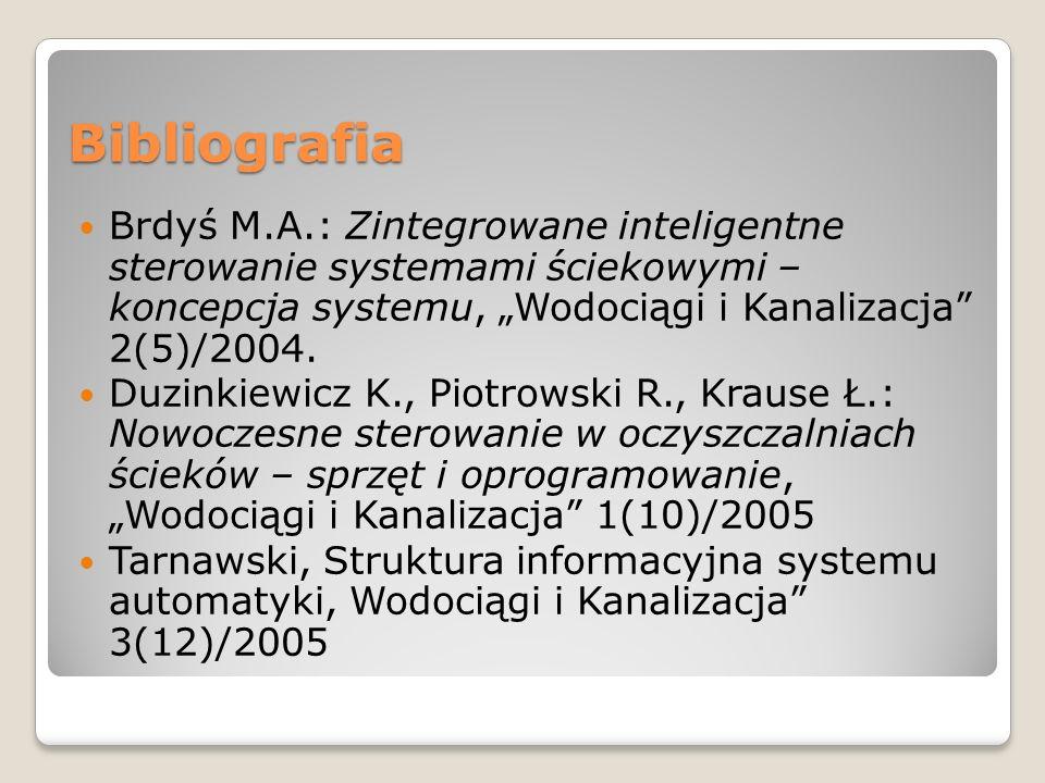 Bibliografia Brdyś M.A.: Zintegrowane inteligentne sterowanie systemami ściekowymi – koncepcja systemu, Wodociągi i Kanalizacja 2(5)/2004. Duzinkiewic
