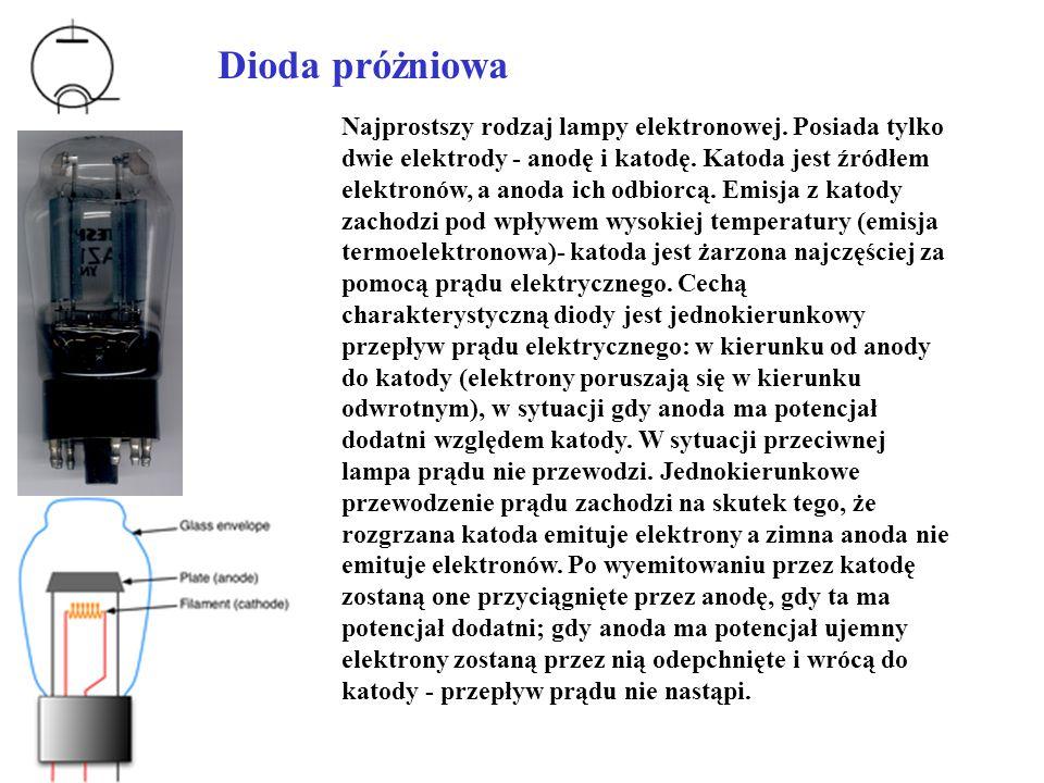 Trioda Trioda jest najprostszą i najstarsza lampą wzmacniającą.