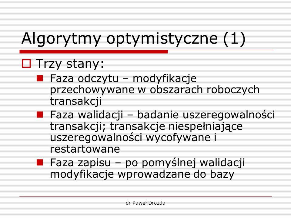 dr Paweł Drozda Algorytmy optymistyczne (1) Trzy stany: Faza odczytu – modyfikacje przechowywane w obszarach roboczych transakcji Faza walidacji – bad
