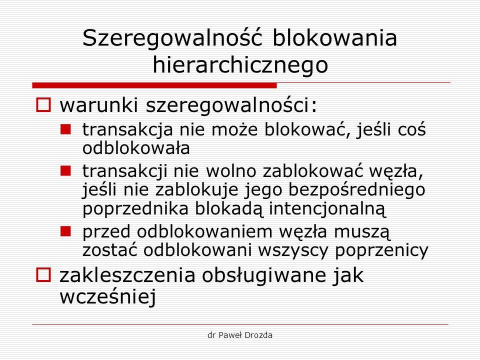 dr Paweł Drozda Szeregowalność blokowania hierarchicznego warunki szeregowalności: transakcja nie może blokować, jeśli coś odblokowała transakcji nie